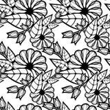 μαύρο floral άνευ ραφής λευκό πρ& Τέχνη συνδετήρων ράστερ Στοκ Εικόνα