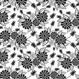 μαύρο floral άνευ ραφής λευκό πρ& Τέχνη συνδετήρων ράστερ Στοκ εικόνα με δικαίωμα ελεύθερης χρήσης