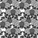 μαύρο floral άνευ ραφής λευκό πρ& Τέχνη συνδετήρων ράστερ Στοκ Φωτογραφίες