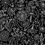 μαύρο floral άνευ ραφής λευκό πρ& Στοκ φωτογραφία με δικαίωμα ελεύθερης χρήσης