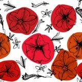 μαύρο floral άνευ ραφής λευκό πρ& διανυσματική απεικόνιση