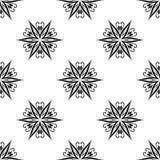 Μαύρο floral άνευ ραφής σχέδιο στο άσπρο υπόβαθρο Στοκ Φωτογραφία