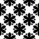 Μαύρο floral άνευ ραφής σχέδιο στο άσπρο υπόβαθρο Στοκ εικόνα με δικαίωμα ελεύθερης χρήσης