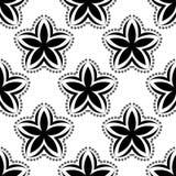 Μαύρο floral άνευ ραφής σχέδιο στο άσπρο υπόβαθρο Στοκ Εικόνες