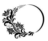 μαύρο floral λευκό πλαισίων Στοκ Εικόνα