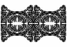 Μαύρο floral ντεκόρ Στοκ Εικόνα