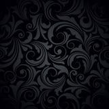 μαύρο floral πρότυπο άνευ ραφής επίσης corel σύρετε το διάνυσμα απεικόνισης Στοκ Φωτογραφία