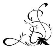 Μαύρο floral στοιχείο για το σχέδιο Στοκ Εικόνες