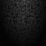 Μαύρο floral σχέδιο ταπετσαριών Στοκ φωτογραφία με δικαίωμα ελεύθερης χρήσης