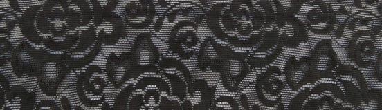 Μαύρο floral υπόβαθρο ζωνών δαντελλών Στοκ φωτογραφία με δικαίωμα ελεύθερης χρήσης