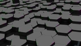 Μαύρο hexagon με την πράσινη και πορφυρή άκρη τρισδιάστατος δώστε ταπετσαρία Στοκ φωτογραφία με δικαίωμα ελεύθερης χρήσης
