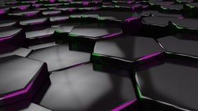 Μαύρο hexagon με την πράσινη και πορφυρή άκρη τρισδιάστατος δώστε ταπετσαρία Στοκ εικόνες με δικαίωμα ελεύθερης χρήσης