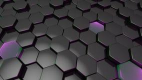 Μαύρο hexagon με την πράσινη και πορφυρή άκρη τρισδιάστατος δώστε ταπετσαρία Στοκ φωτογραφίες με δικαίωμα ελεύθερης χρήσης