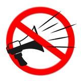 Μαύρο megaphone μέσα στο οδικό σημάδι απαγόρευσης, διάνυσμα απεικόνιση αποθεμάτων