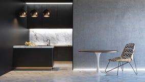 Μαύρο minimalistic εσωτερικό κουζινών τρισδιάστατος δώστε τη χλεύη απεικόνισης επάνω Στοκ Φωτογραφία