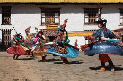 μαύρο mongar tsechu καπέλων χορευτών Στοκ Εικόνες