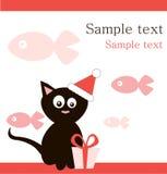 μαύρο santa καπέλων s δώρων γατών Στοκ Εικόνες