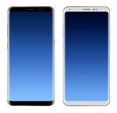 Μαύρο Smartphone & άσπρο Smartphone με τη μεγάλη οθόνη ελεύθερη απεικόνιση δικαιώματος