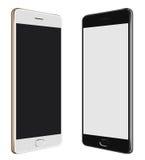 Μαύρο Smartphone & άσπρο Smartphone με τη μεγάλη οθόνη στοκ φωτογραφία