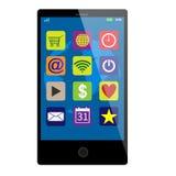 Μαύρο smartphone οθονών επαφής Ελεύθερη απεικόνιση δικαιώματος