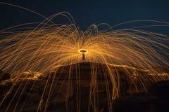 μαλλί χάλυβα πυρκαγιάς à ¹ ŒNight Στοκ Φωτογραφίες