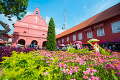 Μαλαισία - 10 Φεβρουαρίου 2017:: Κόκκινο ορόσημο εκκλησιών Χριστού Mela Στοκ Εικόνα