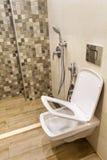 Μαλακή στενή κάλυψη καθισμάτων τουαλετών σε ένα σύγχρονο λουτρό Στοκ Εικόνα