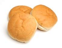 Μαλακοί άσπροι ρόλοι ψωμιού που απομονώνονται στο άσπρο υπόβαθρο Στοκ Φωτογραφία