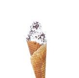 Μαλακός εξυπηρετήστε το παγωτό. Ψεκάζει τη σοκολάτα. στοκ εικόνα