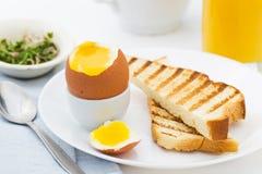 Μαλακό βρασμένο αυγό με τη φρυγανιά για το πλούσιο πρόγευμα Στοκ Φωτογραφίες