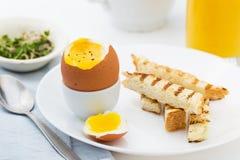 Μαλακό βρασμένο αυγό με τη φρυγανιά για το πλούσιο πρόγευμα Στοκ φωτογραφία με δικαίωμα ελεύθερης χρήσης