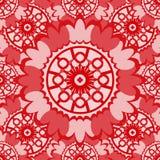 Μαλακό κόκκινο αφηρημένο άνευ ραφής σχέδιο με το στρογγυλό διακοσμητικό στοιχείο Στοκ Φωτογραφία