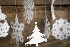 Μαλακό snowflake διακοσμήσεων Χριστουγέννων εστίασης, έγγραφο χριστουγεννιάτικων δέντρων Στοκ φωτογραφία με δικαίωμα ελεύθερης χρήσης
