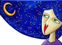 Μαλλιαρό κορίτσι μπλε ουρανού απεικόνιση αποθεμάτων