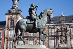 Μαδρίτη - δήμαρχος Plaza - άγαλμα της Philips ΙΙΙ Στοκ Εικόνες