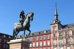 Μαδρίτη - δήμαρχος Plaza Στοκ Εικόνες