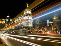 Μαδρίτη, εικονική παράσταση πόλης τη νύχτα Ισπανία Στοκ Εικόνα