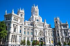 Μαδρίτη, 27.2015 Ισπανία-Μαΐου: Παλάτι και πηγή Cibeles στο Pla Στοκ Φωτογραφία