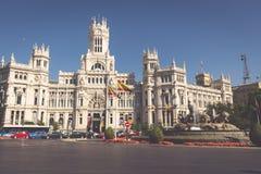 Μαδρίτη, 27.2015 Ισπανία-Μαΐου: Παλάτι και πηγή Cibeles στο Pla Στοκ Εικόνες