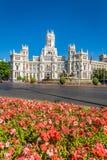 Μαδρίτη, 27.2015 Ισπανία-Μαΐου: Παλάτι και πηγή Cibeles στο Pla Στοκ εικόνα με δικαίωμα ελεύθερης χρήσης
