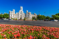 Μαδρίτη, 27.2015 Ισπανία-Μαΐου: Παλάτι και πηγή Cibeles στο Pla Στοκ φωτογραφία με δικαίωμα ελεύθερης χρήσης