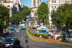 Μαδρίτη, 27.2015 Ισπανία-Μαΐου: Παλάτι και πηγή Cibeles στο Pla Στοκ Εικόνα