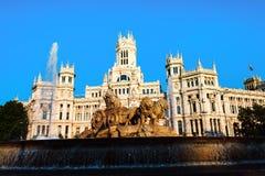 Μαδρίτη Ισπανία Παλάτι και πηγή Cybele στο Plaza Cibeles Στοκ φωτογραφία με δικαίωμα ελεύθερης χρήσης
