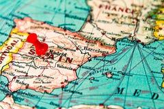 Μαδρίτη, Ισπανία που καρφώνεται στον εκλεκτής ποιότητας χάρτη της Ευρώπης Στοκ Εικόνα
