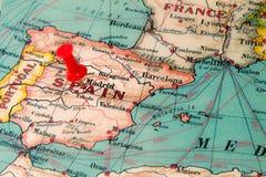 Μαδρίτη, Ισπανία που καρφώνεται στον εκλεκτής ποιότητας χάρτη της Ευρώπης Στοκ εικόνες με δικαίωμα ελεύθερης χρήσης