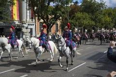 ΜΑΔΡΊΤΗ, ΙΣΠΑΝΙΑ - 12 ΟΚΤΩΒΡΊΟΥ: Ισπανικό βασιλικό ιππικό φρουράς (Guardia πραγματικό) στην ισπανική εθνική μέρα Στοκ Φωτογραφίες
