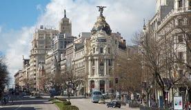 Μαδρίτη - κοιτάξτε από Plaza de Cibeles στο Cale de Alcala Στοκ φωτογραφίες με δικαίωμα ελεύθερης χρήσης