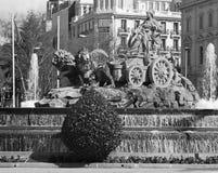 Μαδρίτη - μορφή Plaza de Cibeles πηγών Στοκ Φωτογραφία