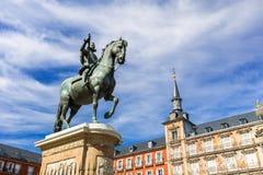 Μαδρίτη το καλοκαίρι στο δήμαρχο Plaza, Ισπανία Στοκ φωτογραφία με δικαίωμα ελεύθερης χρήσης