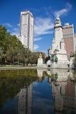 Μαδρίτη. Το μνημείο σε Θερβάντες, φορά Δον Κιχώτης και Sancho Panza. SPA Στοκ Εικόνες